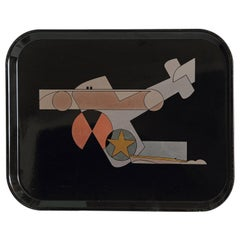 Stylized Machine Age Transportation Themed Micarta Tray by George Switzer