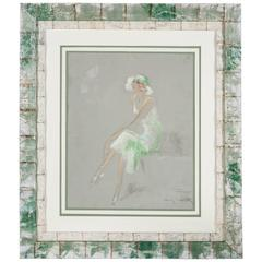 Seated Elegant Lady Drawing by Louis Icart, Pastel, 1930s