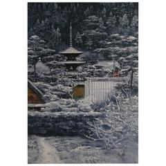 Color Lithograph of Temple in Nara by Sumio Goto, Japanese Painter, circa 1997