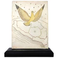 LOS CASTILLO 1955 Pluma Azteca Dove Motif Silver Plate & Glass Plaque Handmade