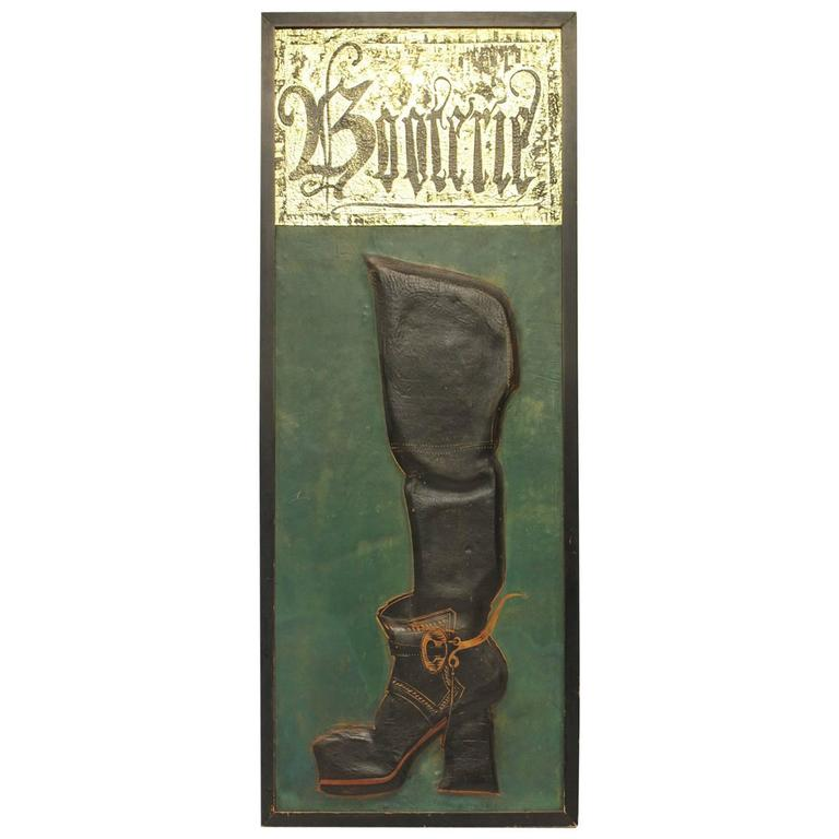 "Vintage Embossed Leather Sign ""Booterie"""