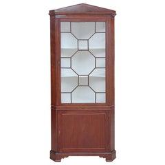 English Regency Corner Cabinet in Mahogany with Glass Door Panels, circa 1820