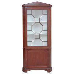 English Regency Corner Cabinet in Mahogany with Glass Panel Door