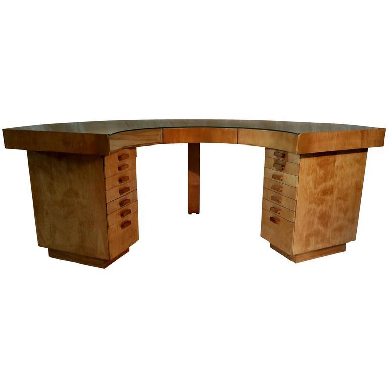 Art Deco Birch Plywood Jewelers Desk Manner Of Alvar