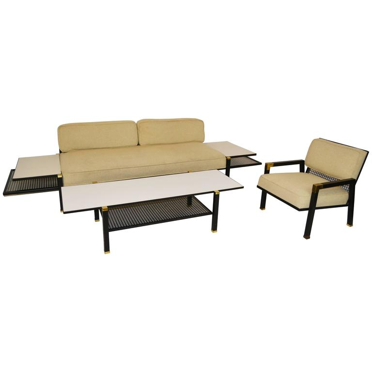 this mid century metal and brass living room set is no longer