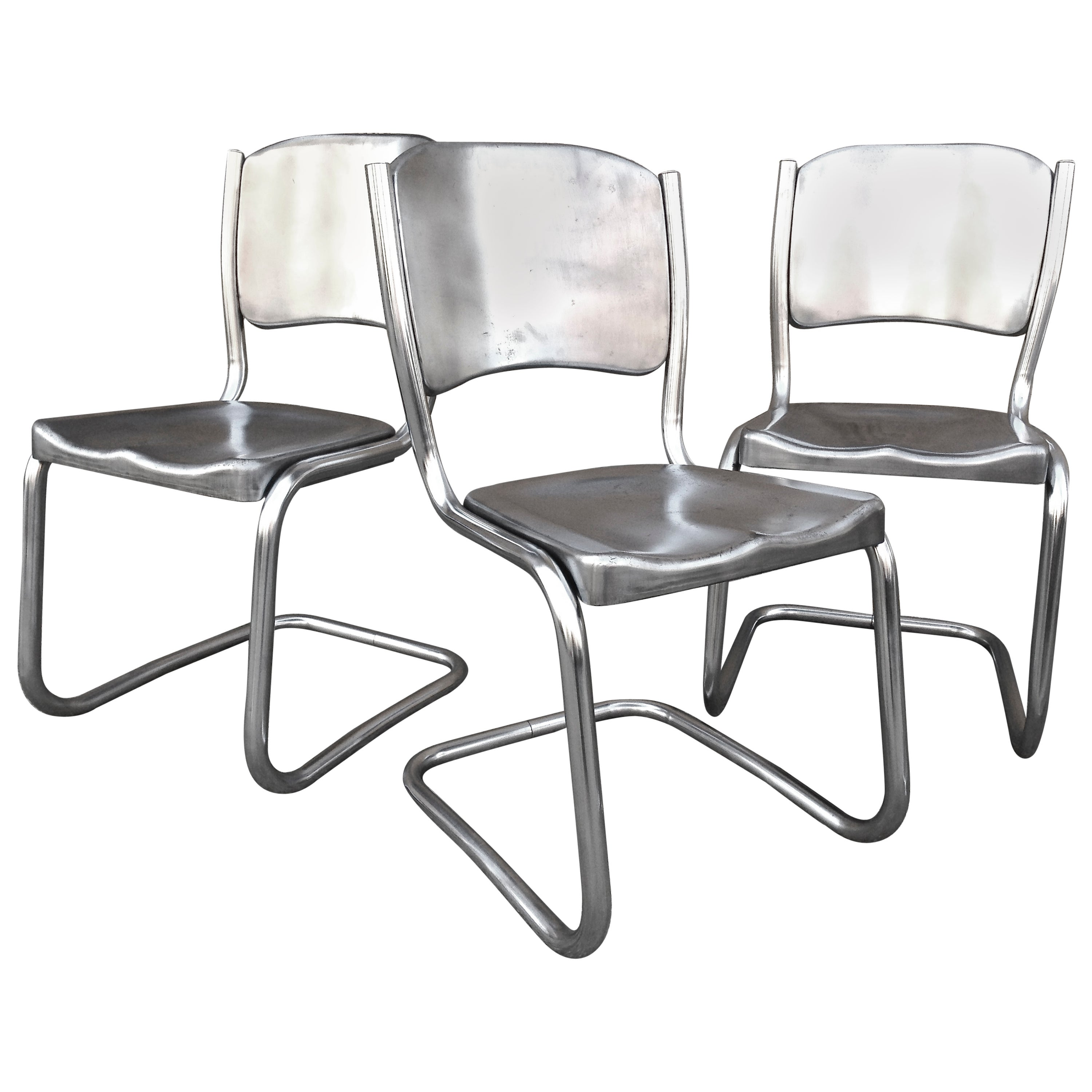 Set of Eight Tubular Brushed Steel Dining Chairs