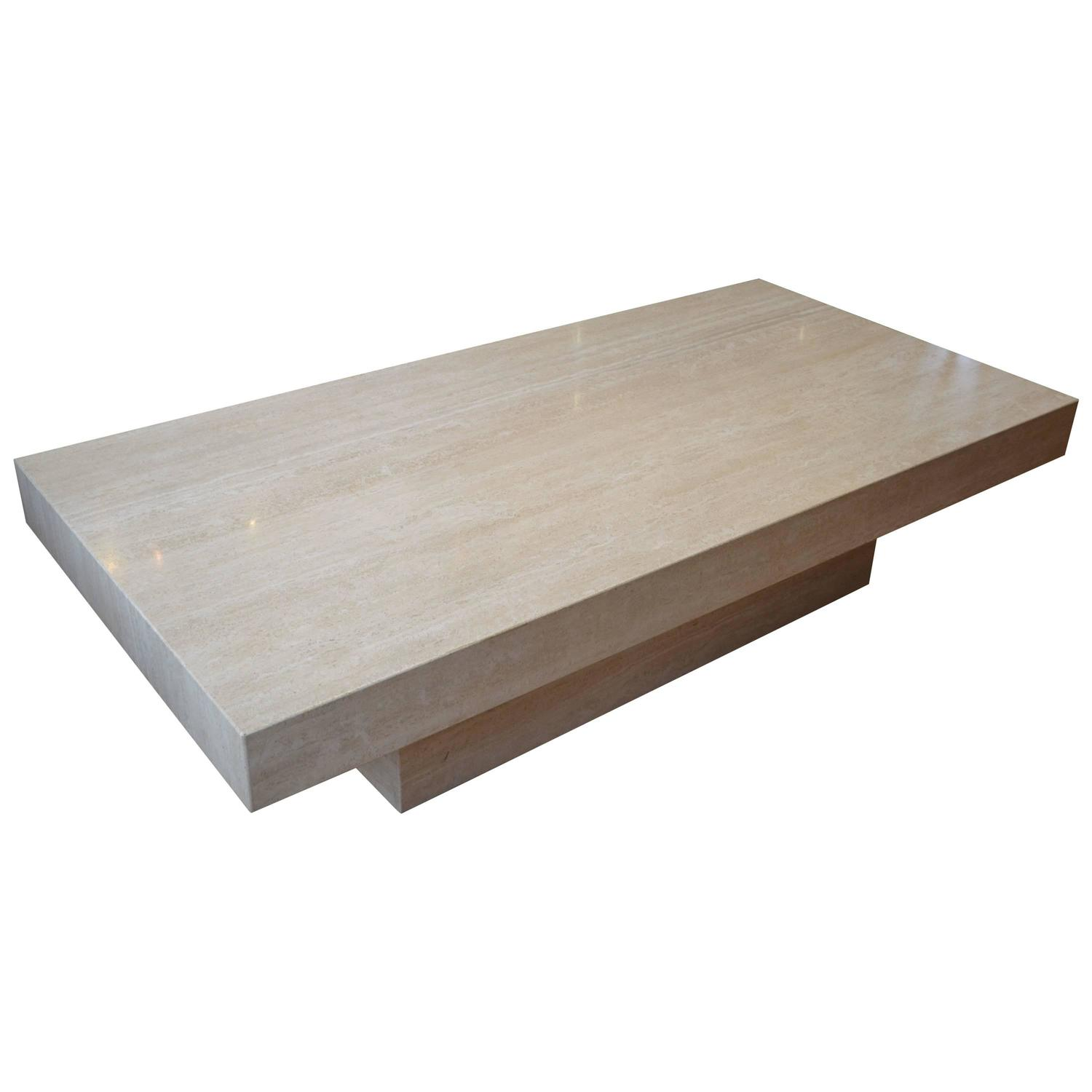 Large travertine coffee table at 1stdibs Wide coffee table