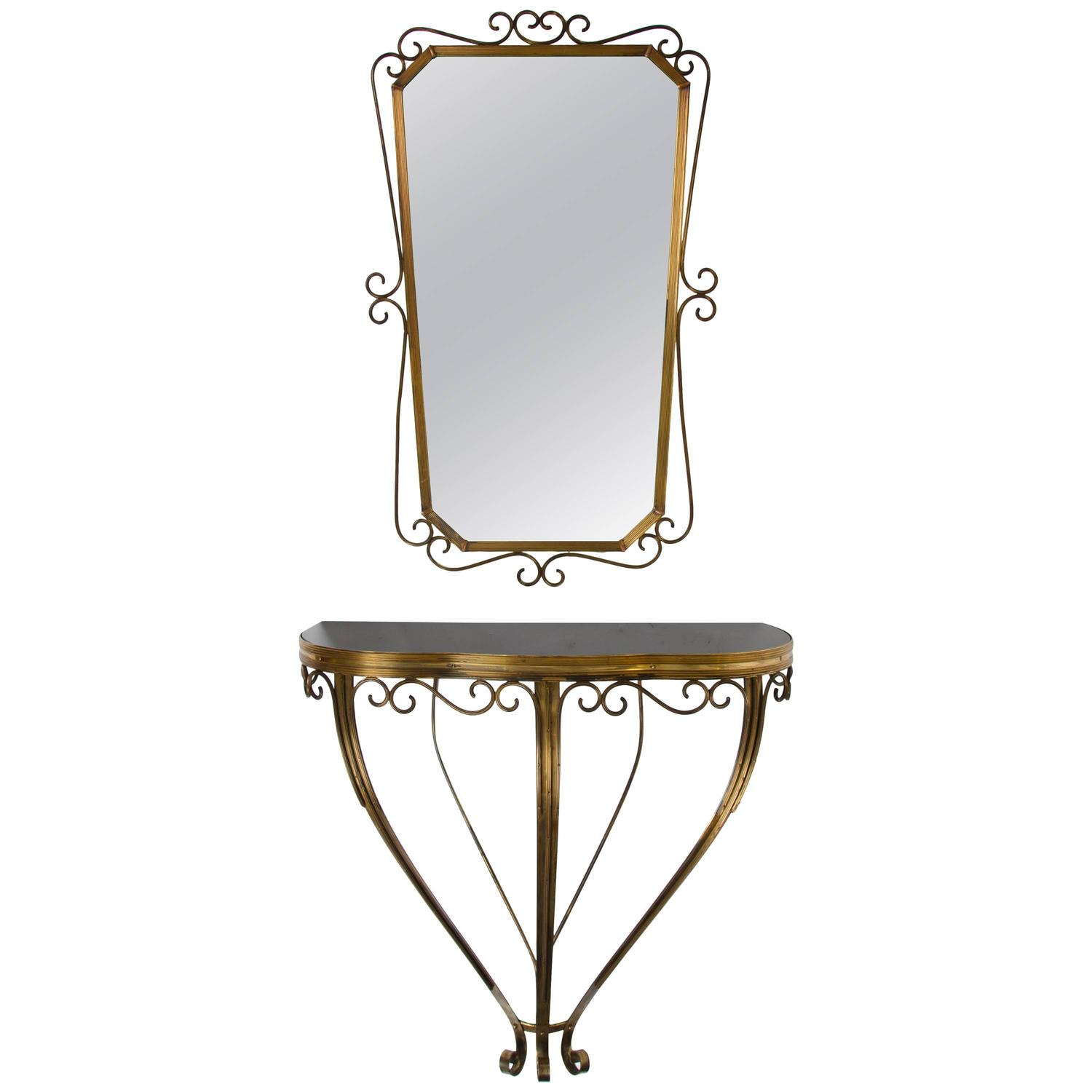 Wall mounted console table and mirror by pierluigi colli for Wall table with mirror