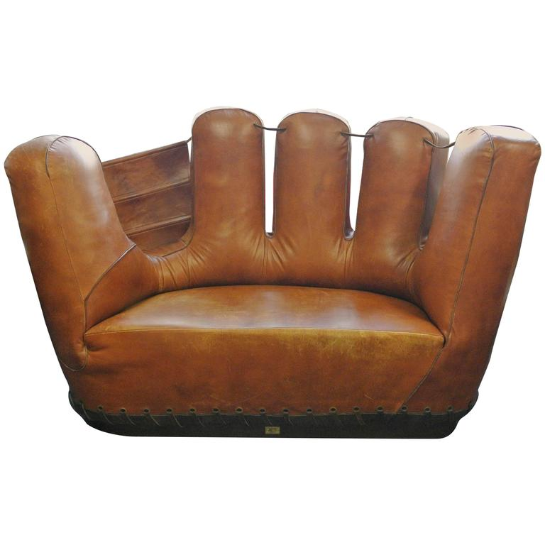 Stiles Brothers Leather Baseball Glove Sofa At 1stdibs