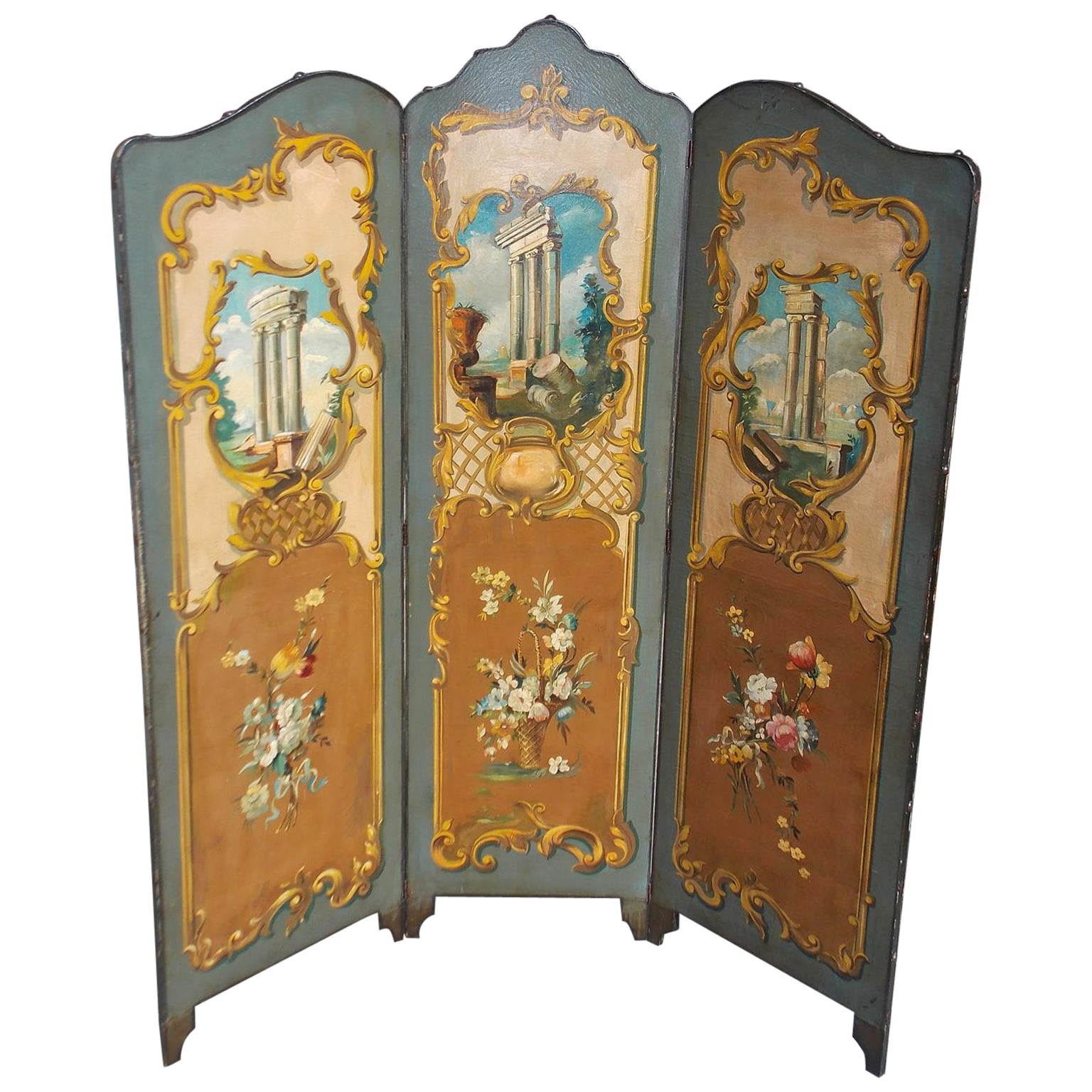 Italian Painted Three Panel Folding Leather Screen.  Circa 1880