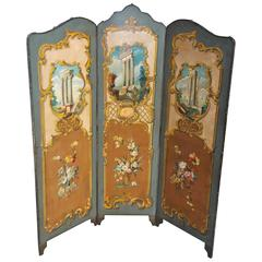 Italian Painted Three Panel Folding Leather Screen.  Circa 1880