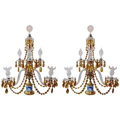 Pair of 19th Century Georgian Crystal and Wedgwood Candelabra