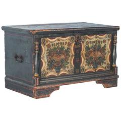 Original Blue Painted Trunk with Half Column Details, dated 1812
