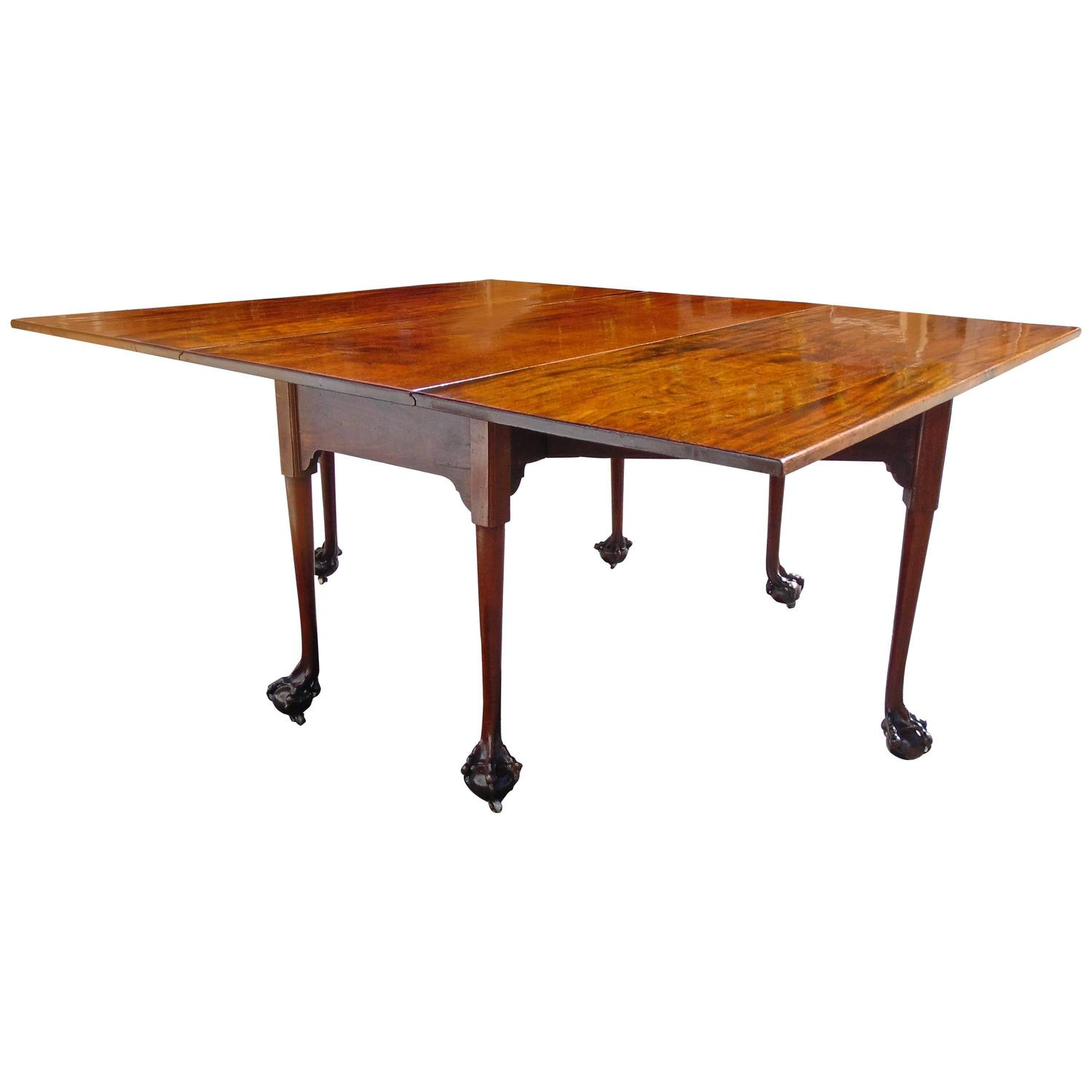 English Chippendale Reticulated Ball and Claw Foot Drop Leaf Table