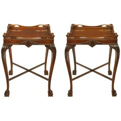 Pair of Mahogany Ball and Claw Footed George II Style End Tables