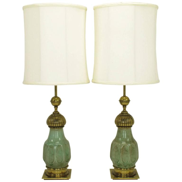 Pair of Stiffel Sea Foam Green Crackle Glaze and Brass Moorish Style Table Lamps