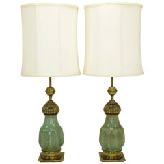 Pair of Stiffel Crackle Glaze Ceramic and Brass Moorish Style Table Lamps