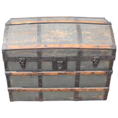 19th Century Original Green Painted Dome Top Trunk