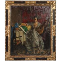 Original Oil on Canvas of Woman with Lute, signed and dated R. E. Stübner, 1820