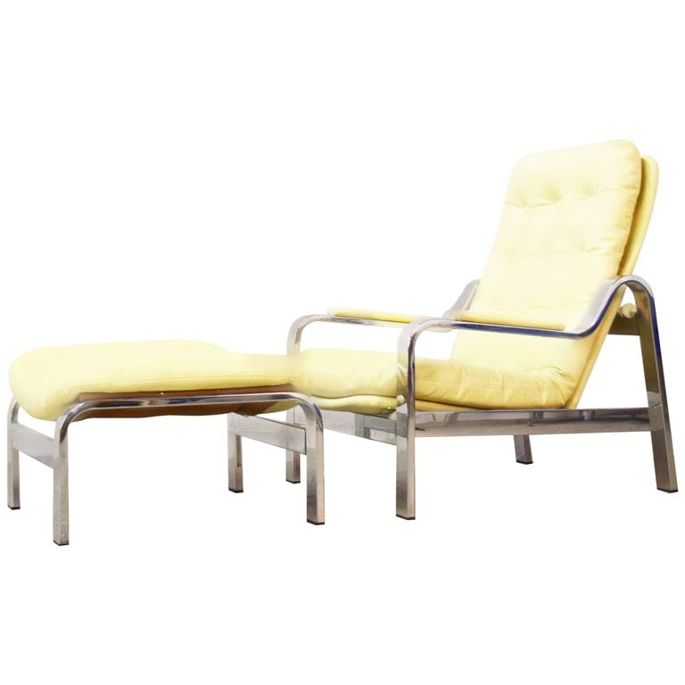 Italian Adjustable Chrome Lounge Chair and Ottoman