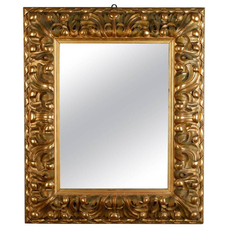 19th century italian mirror with deeply carved gilded frame 1