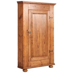 Large Antique Pine Single Door Swedish Corner Cupboard dated 1853