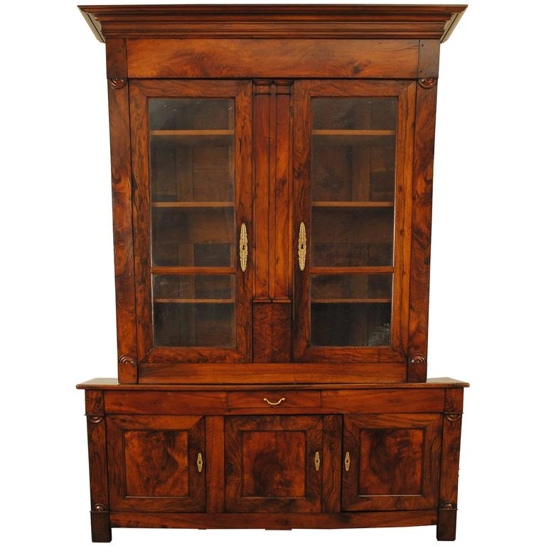 French restauration period walnut bibliotheque at 1stdibs - Bibliotheque 4 cases ...