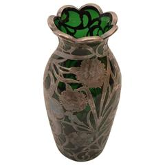 Emerald Glass Silver Overlay Vase