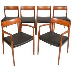 Set of Six No. 77 Teak Dining Chairs by Niels Moller for J.L. Møller Mobelfabrik