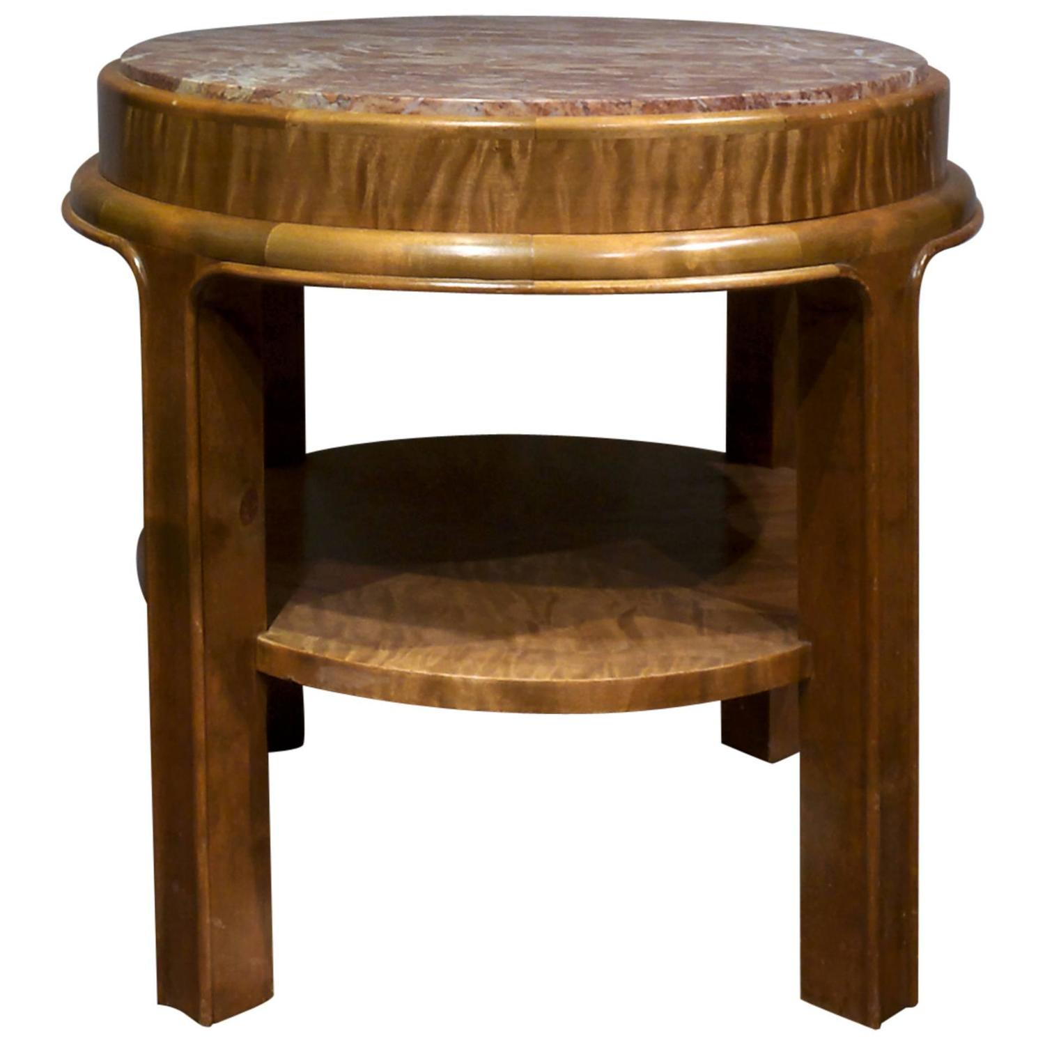 Marble And Birch Side Table By Fritz August Breuhaus De