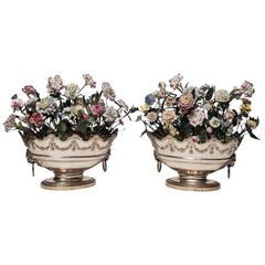 Neoclassical Louis XVI Style Porcelain Flower Arrangements in Oval Baskets Pair