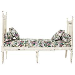 Antique French Painted Louis XVI Style Daybed with Cushion and Pillows