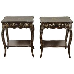 Pair of French Colonial Rosewood and Mother-of-Pearl Sidetables