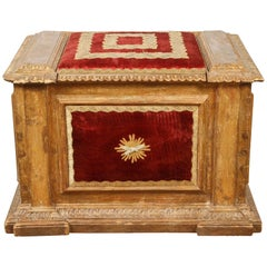 Italian Blanket Box with Red Velvet Upholstery