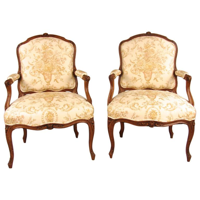 Pair of French Walnut Louis XV Style Armchairs For Sale