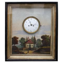19th c. Painting With Enamelled Wall Clock