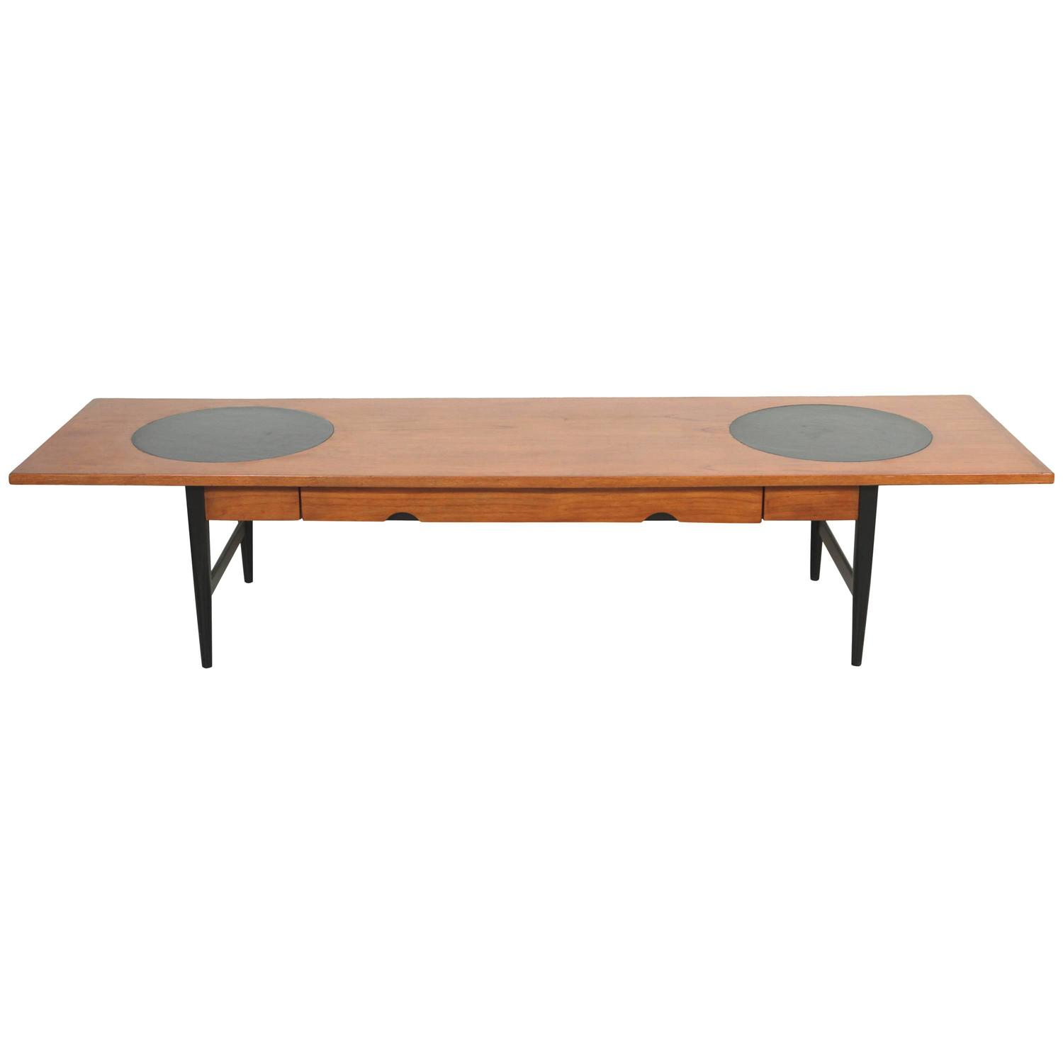 Long Coffee Table With Leather Inlay And Drawer For Sale At 1stdibs