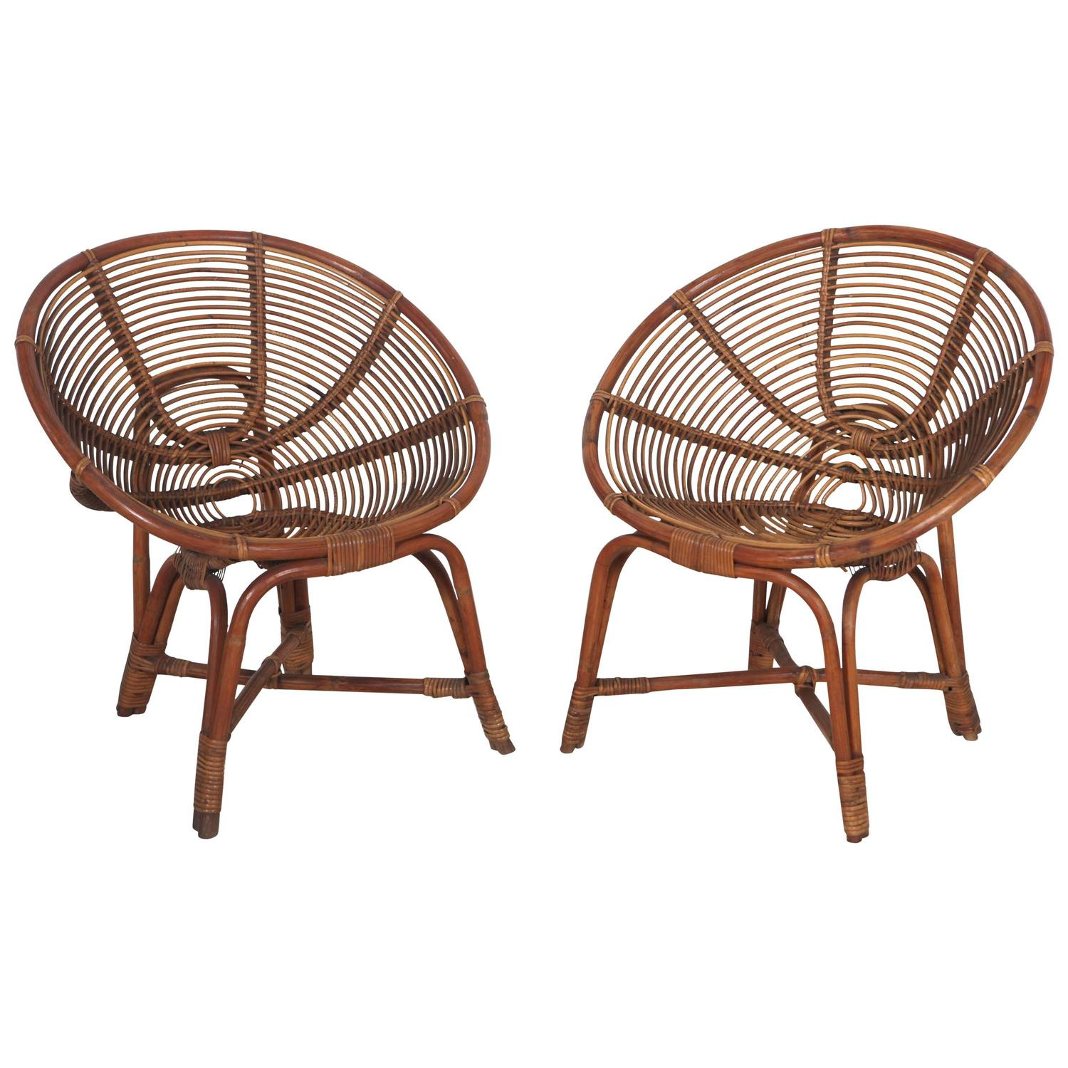 Italian Round Bamboo Lounge Chairs At 1stdibs