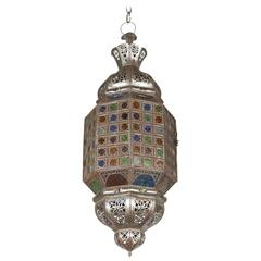 Moroccan Handcrafted Light Fixture with Multi-Color Glass