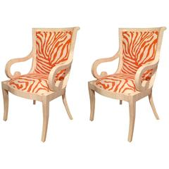 Tesselatted Bone Arm Chairs