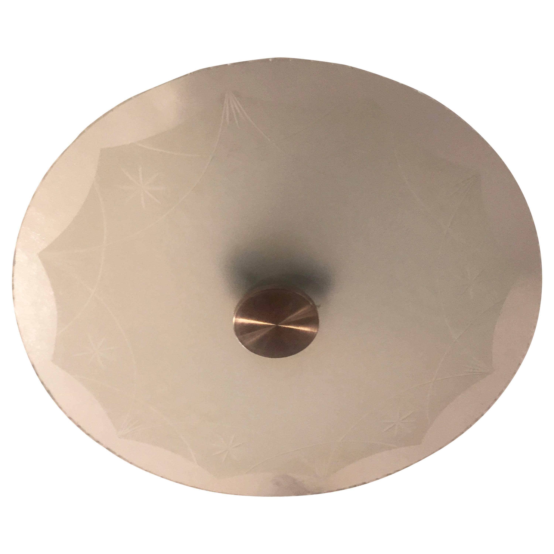 Swedish Art Deco Glass Flush Pendant