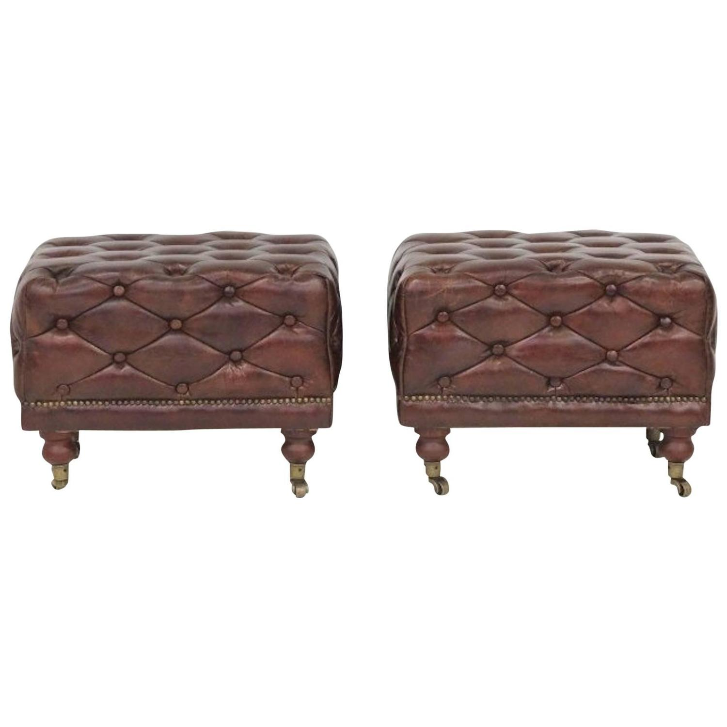 Pair of Leather Chesterfield Ottomans at 1stdibs