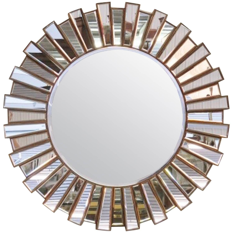 Large mirrored sunburst mirror at 1stdibs for Sunburst mirror