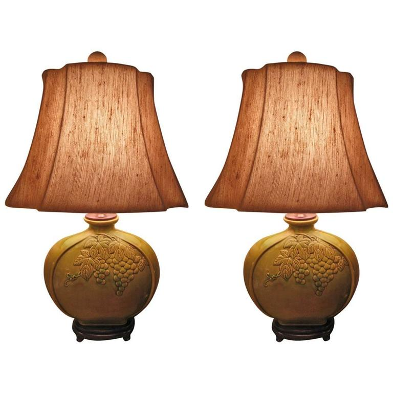 Pair of Lamps, Art Deco Style Green Ceramic