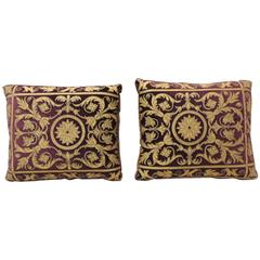 Pair of 19th Century Leather Applique Silk Velvet Pillows