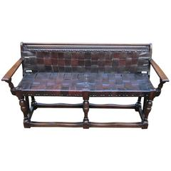 Arts and Crafts Woven Leather Bench, England, 19th Century