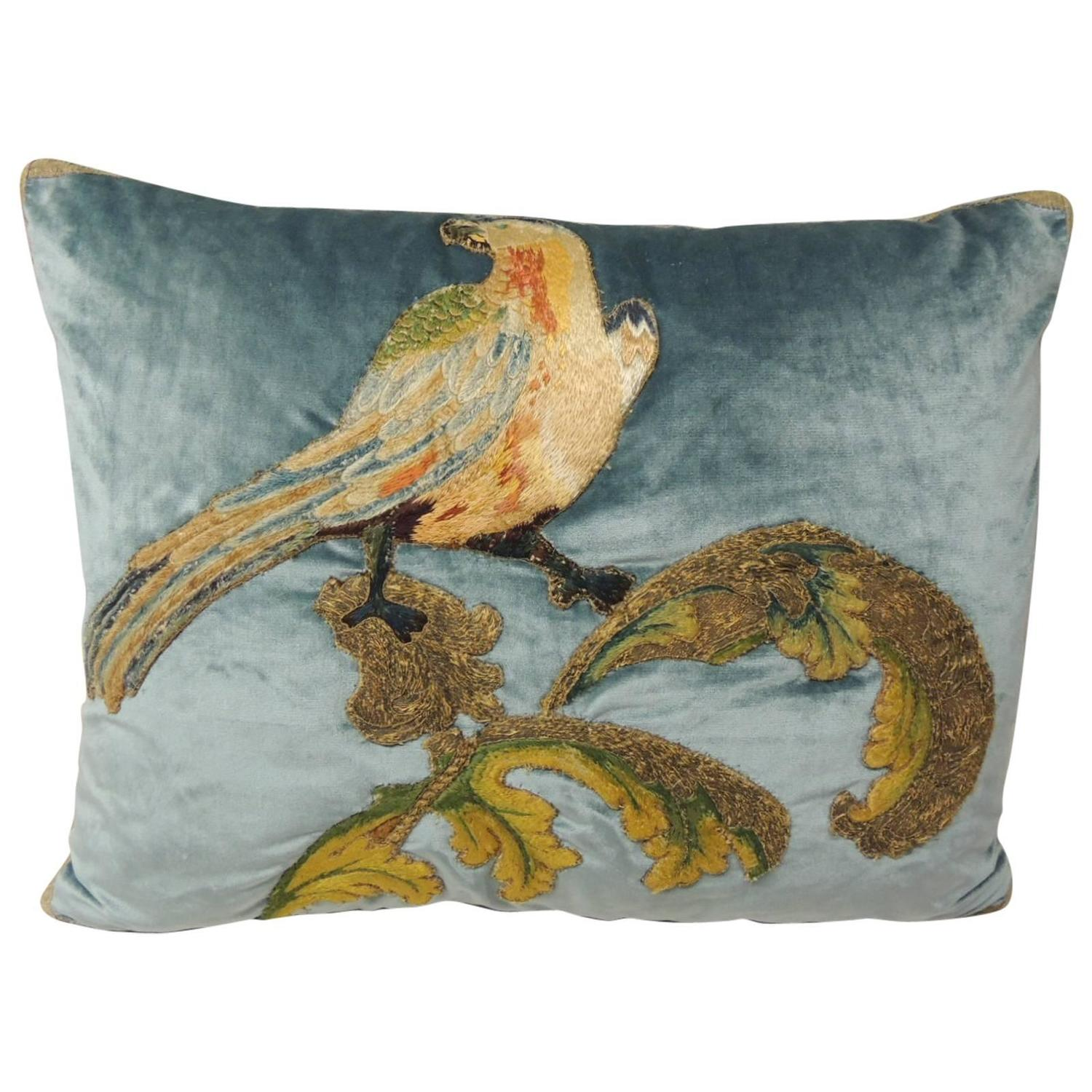 Yellow Bird Throw Pillows : Silk Velvet Yellow Bird Applique Bolster Pillow at 1stdibs
