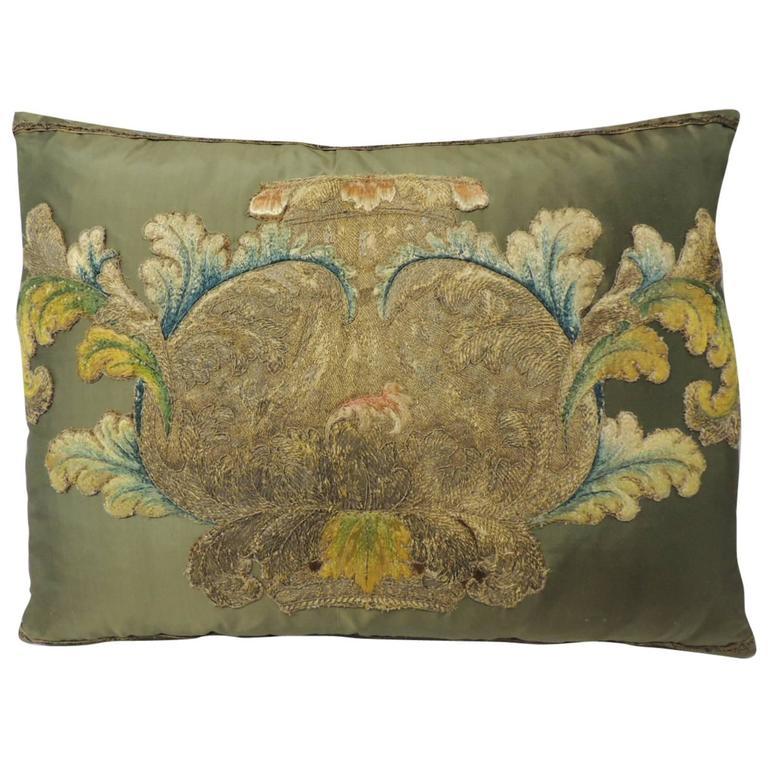 19th Century Silk Applique Bolster Decorative Pillow For Sale