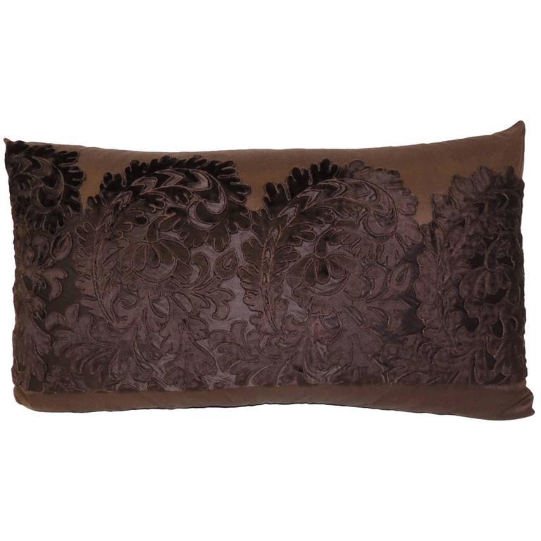 Modern Bolster Pillows : Brown Silk Embroidery Bolster Pillow at 1stdibs