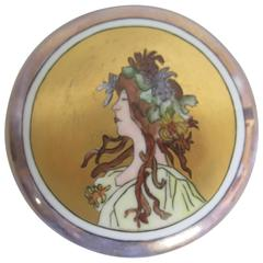 Hand-Painted Porcelain Jewelry Box, French